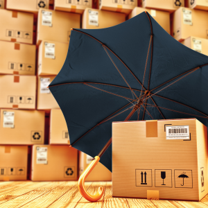 Open Umbrella and wall of brown cardboard boxes
